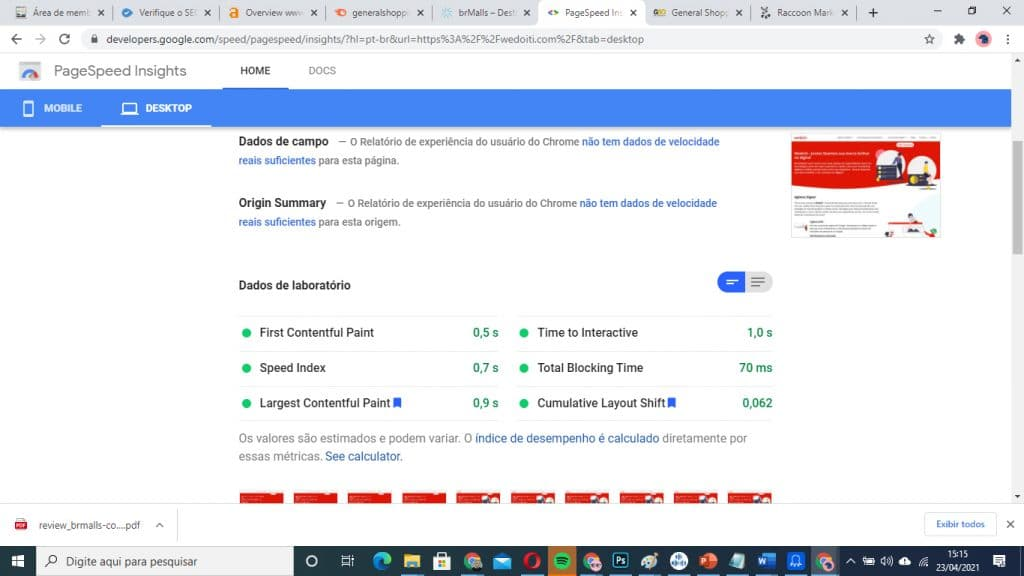 Page Speed Insights e Google Page Experience