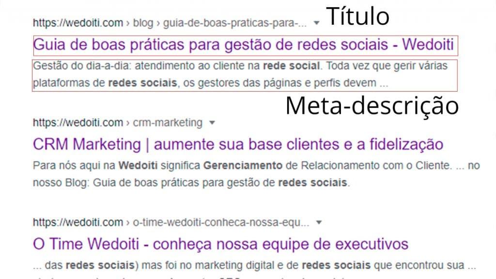 Curso de SEO - Exemplo de titulo e meta-descrição numa pesquisa do Google