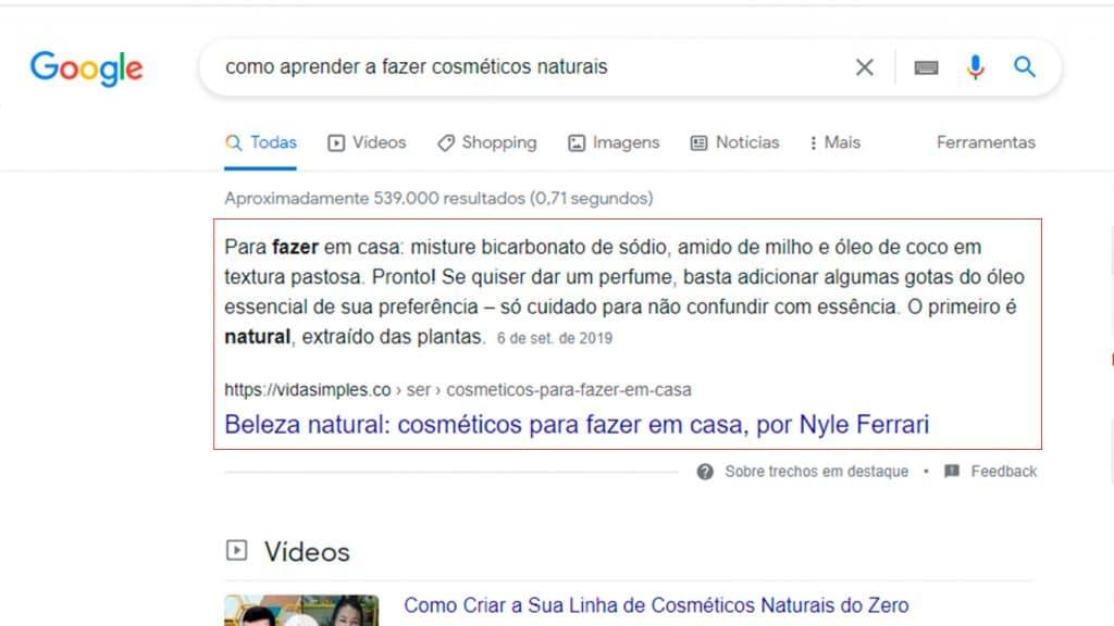 Curso de SEO - exemplo de feature snippet na página de pesquisa do Google
