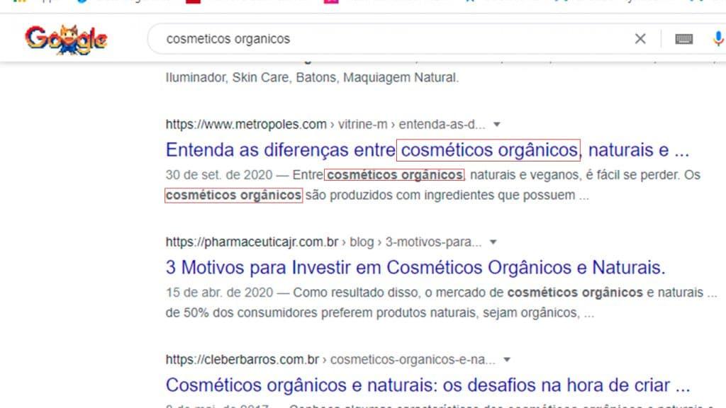 Curso de SEO - exemplo titulo e meta-descrição para cosmeticos organicos