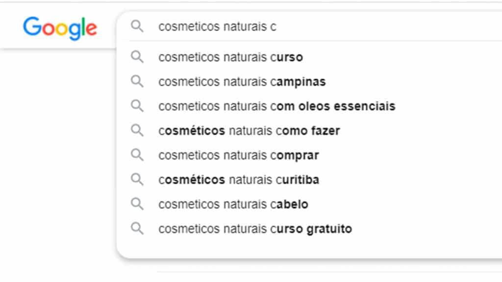 Curso de SEO - Funcionalidades do Google: Preenchimento automático com a letra c